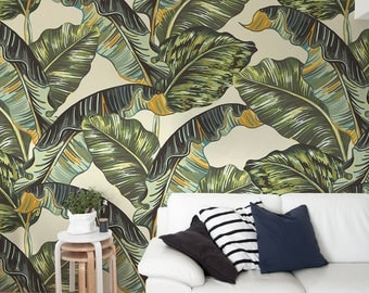Removable Wallpaper, Banana Leaf Wallpaper, Tropical, Wallpaper, Jungle, Leaves Wallpaper, Jungle Wall Decor, Jungle Wallcovering - A218