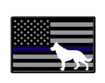 Police K-9 USA Flag with Thin Blue Line and K-9 Patch