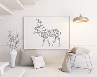 Printable deer wall decor. Modern art. Minimalist print. Instant download.