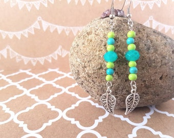 Turquoise and green leaf drop earrings