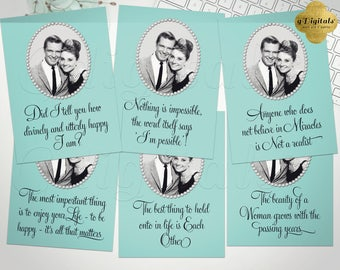 """Audrey Hepburn Printable Quotes Bridal Shower Decorations, Favors Gifts, Instant Download, 5x7"""" Set of 6 {Turquoise Blue}"""