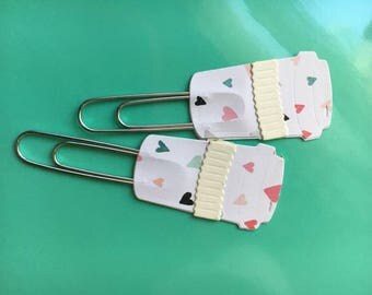Coffee Cup Planner Clips Tiny Hearts Set of 2