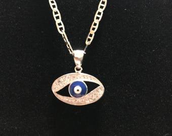 Sparkling Silver Evil Eye Necklace