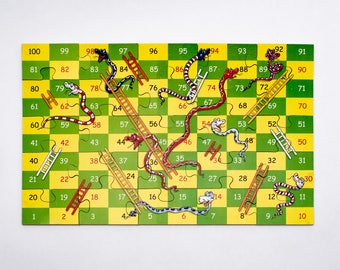 Wooden Snakes and Ladders Jigsaw Puzzle Game