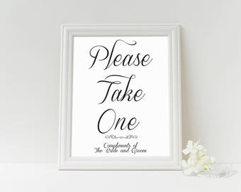 Please Take one Wedding Favors Printable