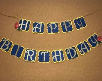 Beauty and the beast birthday banner