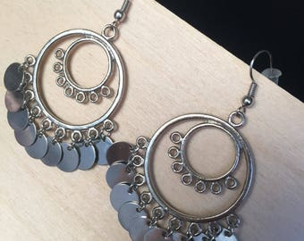Large Silver Dangling Earrings
