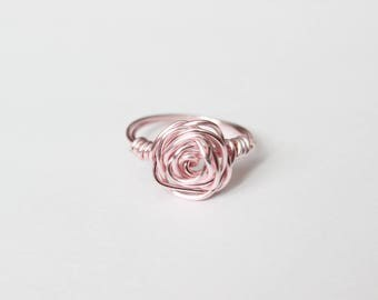 Pink Wire Wrapped Rose Ring, Wire Ring, Light Pink, Wire Wrapped Jewelry, For Her, Bridesmaids Ring