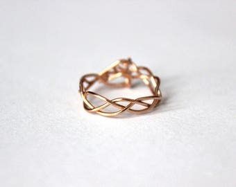 Wire Braided Ring, Copper Braided Ring, Silver, For Her, Gift, Friendship Ring, Twist Ring, Bridesmaids