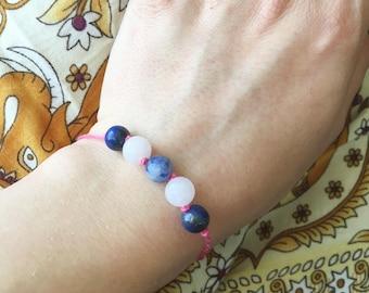 Gemstone Bracelet / Sodalite Bracelet / Rose Quartz Bracelet / Lapis Lazuli Bracelet / Beaded Bracelet / Layering Bracelet / Yoga Bracelet