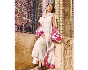 Embroidered Dress Ukrainian Embroidery Ukrainian Clothing Boho Chic Dress Garden roses