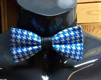 Light Blue & White Houndstooth Bow Tie