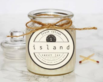 fresh cotton scented soy candle