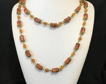 Brown Ceramic and Glass Long Necklace