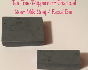 Charcoal Goat Milk Soap with tea tree oil and peppermint oil