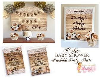 Rustic Baby Shower Party Package, Invitation, Welcome Sign, and Buffet Table Backdrop