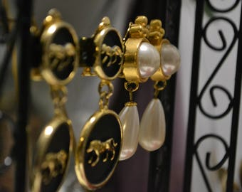 Vintage Set  Tiger Engraved Earring and Pearl Earring set  Clip On