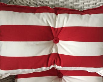Red and White Striped Button Cushions