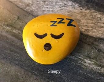 Sleepy Emoji Handpainted Rock Refrigerator Magnet / Garden Accent
