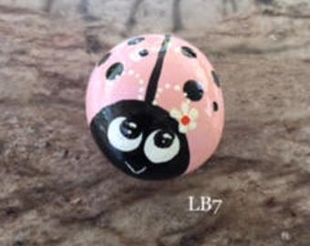 Pink Ladybug with a Daisy, Handpainted Rock - LB7