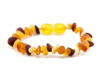 Raw Multi-Coloured Chips Baltic Amber Teething Bracelet / Anklet