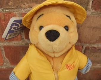 1997 Vivid Imagination Disney Pooh Bear in a Raincoat with tag 26cm