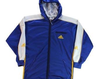 Vintage 90s Adidas ~ Basketball ~ Hooded Track Suit Top / Jacket