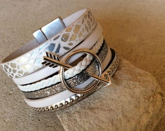 Bracelet white silver and leather from arrow