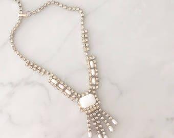 Milk Glass & Rhinestone necklace