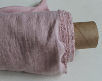 """Softened pink linen fabric Rosy pink linen ~144 cm/ ~56"""" Stonewashed light pink fabric for clothing bedding woven for clothes blouses shirts"""