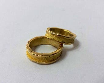 "Handmade wedding rings in yellow gold 750 handmade model ""Frosted"""