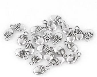 Set of 2 color Acorn charms silver