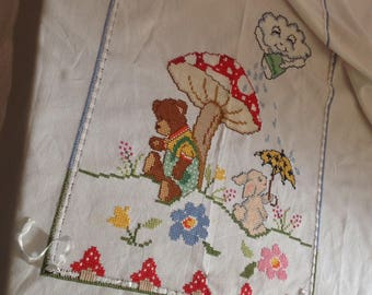 Hand embroidered baby bed cover