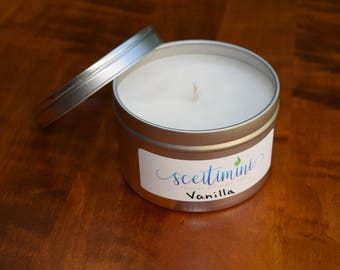 Vanilla Soy Candle in 8oz Tin with Lid