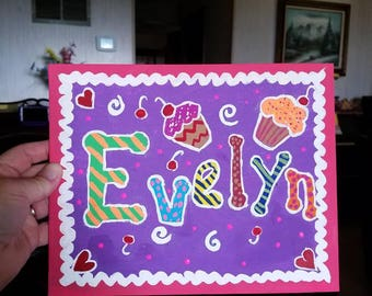 Child's Name Painting (Choose up to 3 favorite colors)