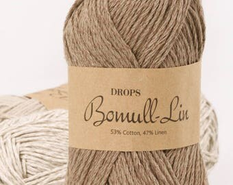 DROPS Bomull-Linn Yarn / Cotton Yarn /  Linen Yarn / Summer Cotton Yarn / Hand Knit Yarn / Crochet Yarn /Yarn 50 g - 1.8 oz