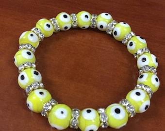 Evil Eye Bead Bracelet 10mm Yellow Stretch Good Luck Protection Bracelet