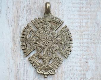 Large Ornate Brass Cross Pendant