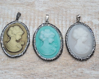 Pave Cz Crystals Lady Cameo Charms Cameo Pendant