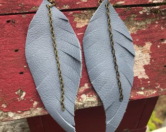 Dusty Blue Leather Feather Earrings
