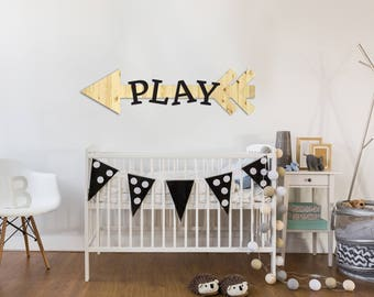Play Wood Sign   Wood Sign Art, Playroom Wall Decor, Wood Play Sign,