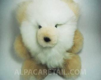 10IN, 11 IN, 12IN White Super Baby Alpaca Fur Teddy Bear Real Alpaca fur -Stuffed Toy -Peruvian Toy from Artisans Alpaca Stuffed Animals