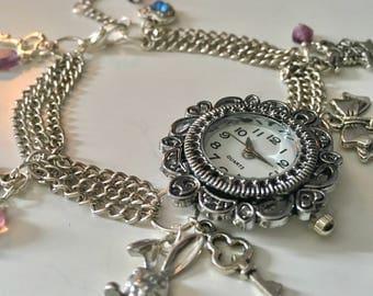 Alice In Wonderland charm watch bracelet