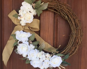 Cotton wreath, fall wreath, spring wreath, summer wreath, front door wreath, year round wreath, farmhouse wreath, farmhouse decor