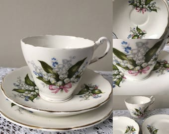 Vintage Regency Bone China teacup trio with lily of the valley design