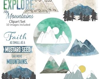 Explore The Mountains  - 10 Image clip art set