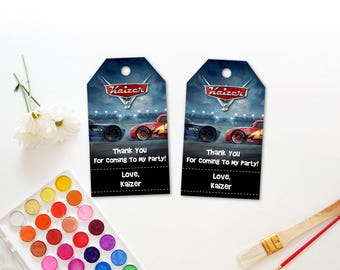 Personalized Cars 3 Thank You Tags Birthday Party Lightning Mcqueen Jackson Storm Race Cars Favor Tags Favors Printable DIY
