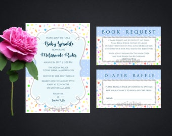 Personalized Baby Sprinkle Party Invitation Book Request Diaper Raffle Invite Confetti Pastel Polka Dots Printable DIY - Digital File
