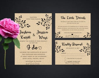 Personalized Rustic Wedding Suite Kraft Paper Tree Branches Script Marriage Invitation Invite RSVP DIY Printable - Digital File