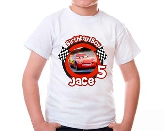 Personalized Cars 3 Lightning Mcqueen Birthday Boy Tee Shirt Tshirt Iron On Transfer Shirt Image Printable DIY - Digital File